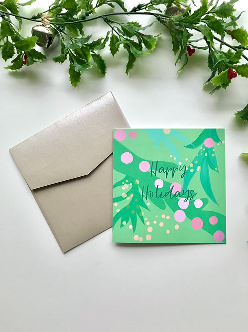 Light Green & Pink Happy Holidays Card