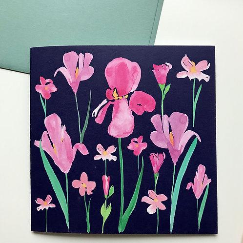 Pink Irises Greeting Card Dark Blue