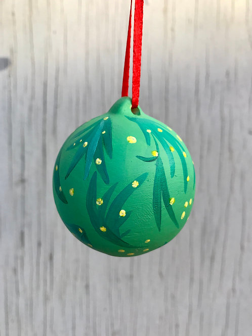 'Golden Wattle' Green Ceramic Ornament