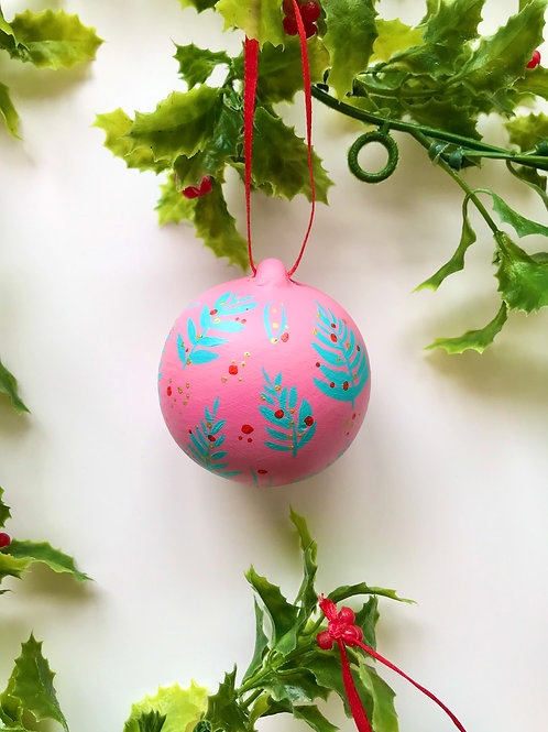 Pink and Turquoise Ceramic Ornament