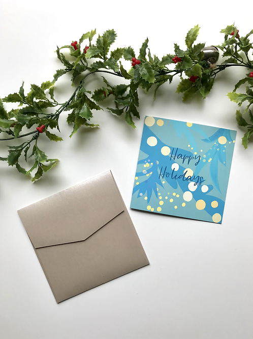 Light Blue & Yellow Happy Holidays Card