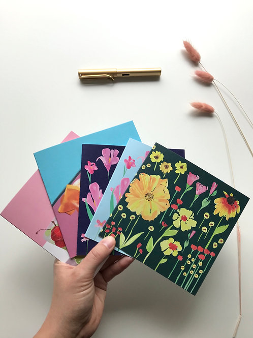 Set of 5 greeting cards