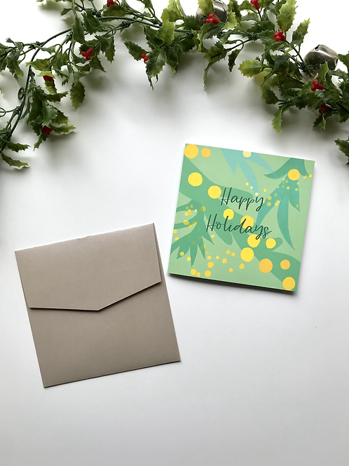 Light Green & Yellow Happy Holidays Card