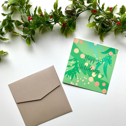 Light Green & Coral Happy Holidays Card