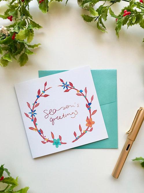Coral Flower Wreath Season's Greetings Card