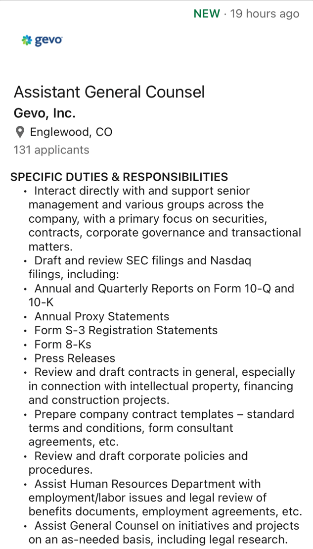 Gevo, Inc.'s Assistant General Counsel duties & responsibilities.  Not things I've ever done.