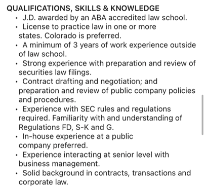 Assistant General Counsel qualifications.  I have none of these.