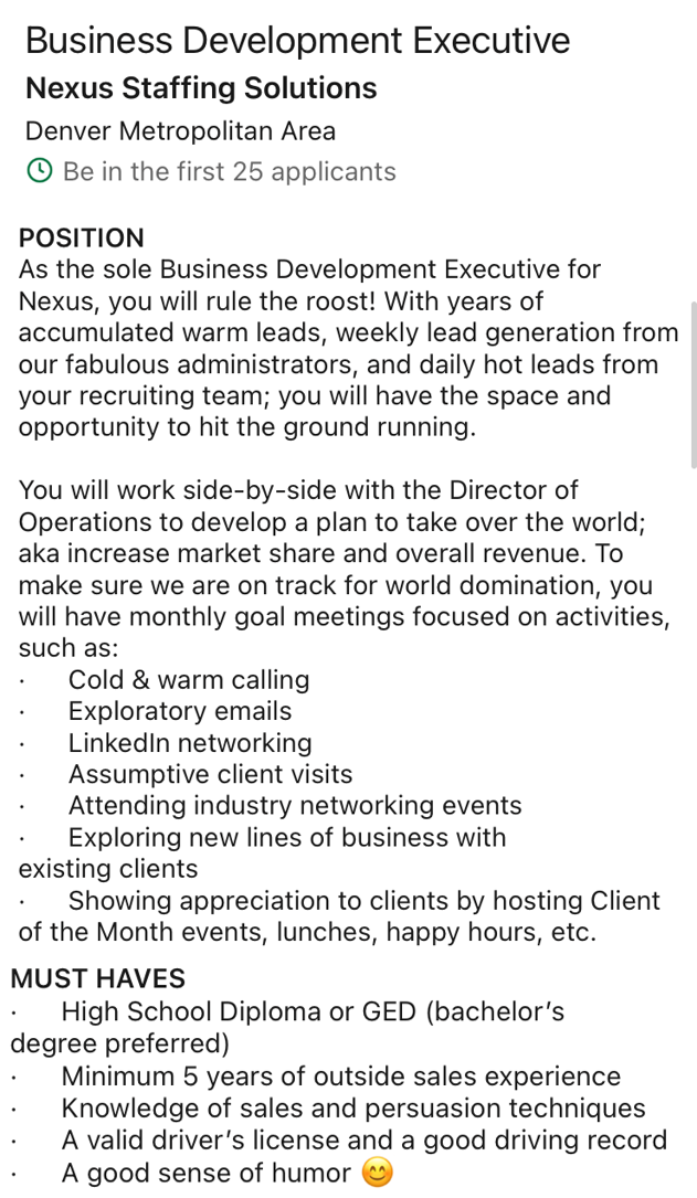 The opportunity of ruling the roost through Nexus Staffing Solution's Business Development Executive position.
