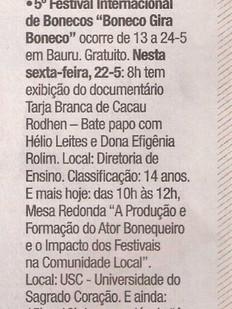 Jornal da Cidade, Bauru/SP, 22/05/2015
