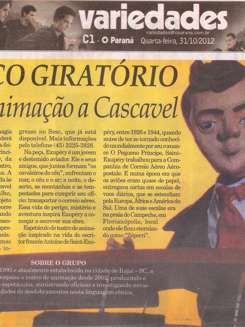 O Paraná, Cascavel/PR, 31/10/2012
