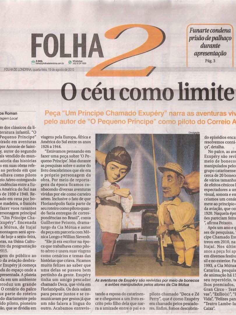 Folha de Londrina, Londrina/PR, 19/08/2015