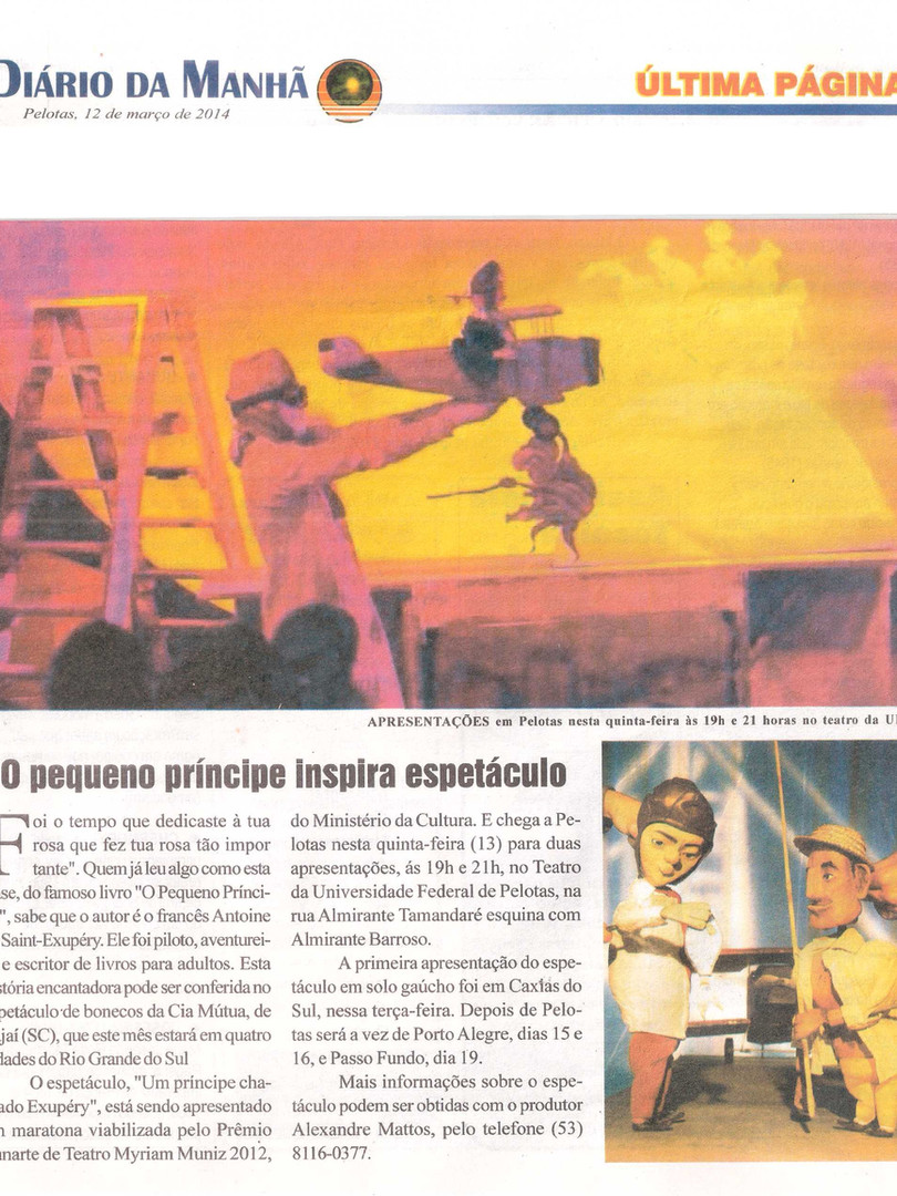 Diário da Manhã, Pelotas/RS, 12/03/2014