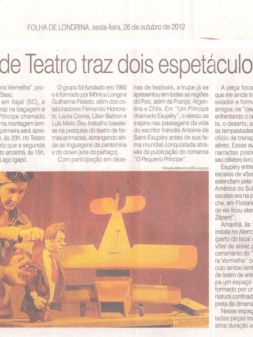 Folha de Londrina, Londrina/PR, 26/10/2012