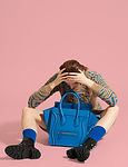 Model with Blue Bag