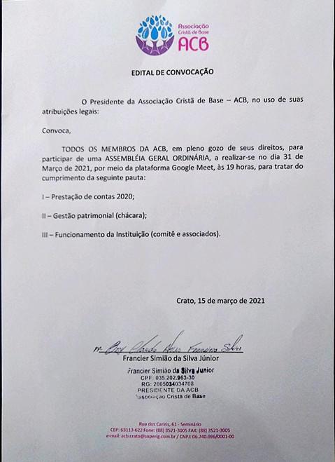 CONVOCATÓRIA PARA ASSEMBLEIA GERAL ORDINÁRIA