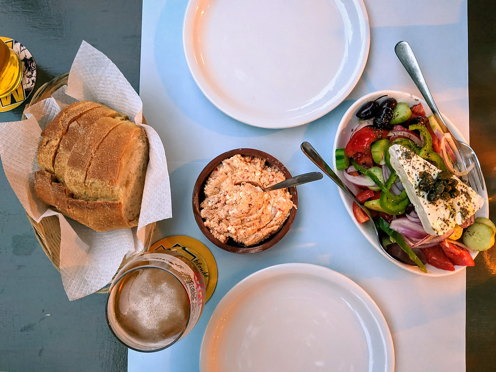 Greek salad and feta spread from a restaurant in Athens, Greece called To Trikyklo or The Tricycle