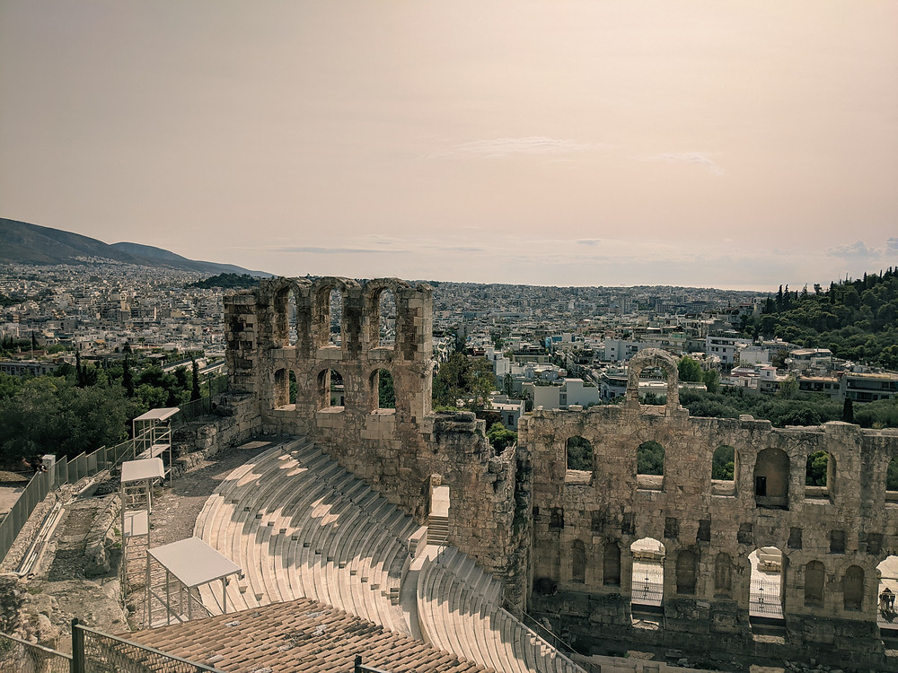 Odeon of Herodes Atticus at the Acropolis in Athens Greece in 2020