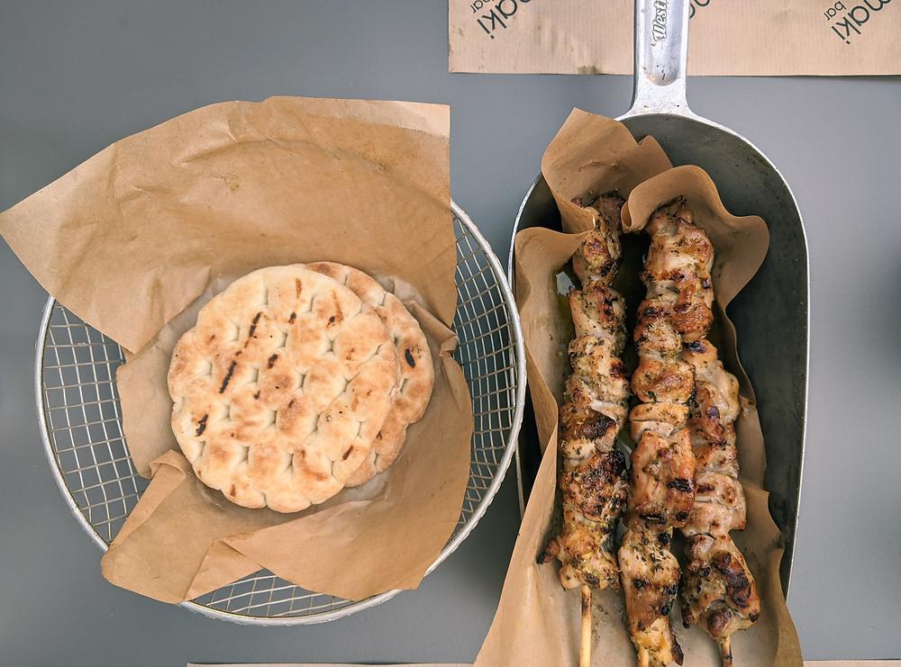 Chicken skewers or kalamaki from street food restaurant in Athens Greece, Kalamaki Bar