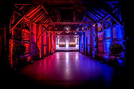 Venue Uplighting Red and Blue - mood lighting hire Essex - MMENT