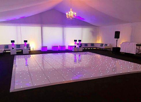 Huge white dance floor installed for a party in Essex - Dance floor hire Essex - MMENT