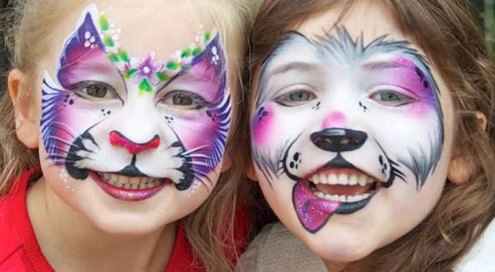 Children with their faces painted - faec painter hire Essex - MMENT