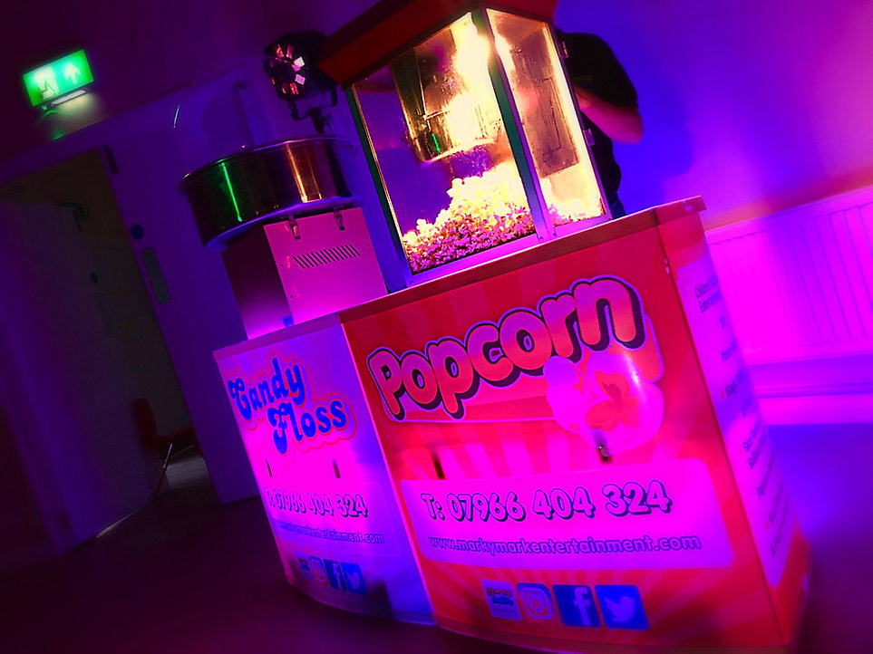 Popcorn and candy floos machines in on stands - popcorn and candy floss machine hire Essex - MMENT