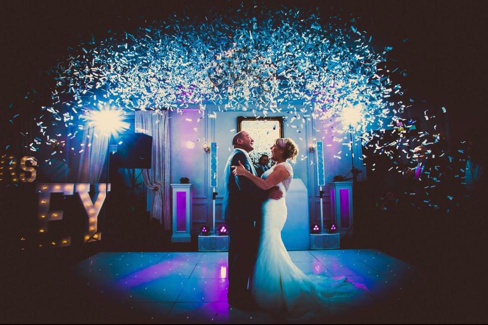First dance at a wedding with confetti - Wedding DJ Essex - MMENT