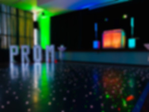 Light up letters spelling the word PROM - light up letter hire Essex - MMENT