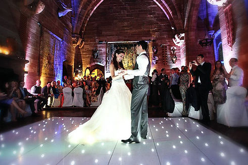 Wedding first dance with a LED stalit dance floor - dance floor hire Essex - MMENT
