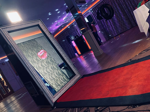 A beautiful magic mirror set up ready at a party - magic selfie mirrors Essex - MMENT