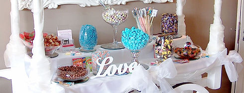 Sweet cart set up and loaded with sweets - Sweet cart hire Essex - MMENT