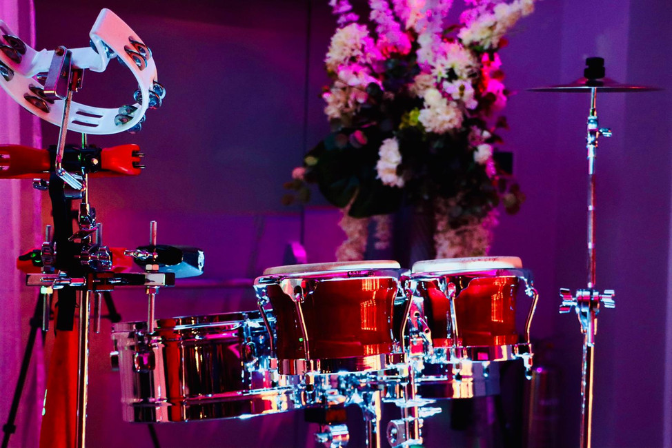 A beautiful percussion set up - bongo hire Essex - MMENT