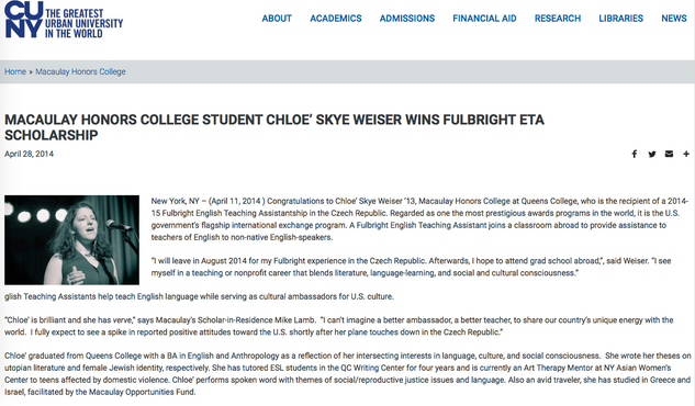Announcement of Fulbright fellowship