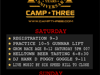 CAMP THREE CUP UPDATES