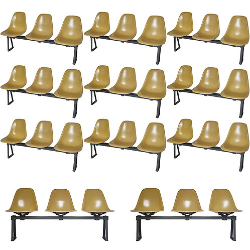 Herman Miller Eames Vintage Ochre Fiberglass Chairs on Tandem Benches