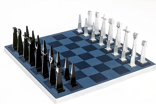 Alcoa Modernist Chess Set and Board by Austin Enterprises 1962