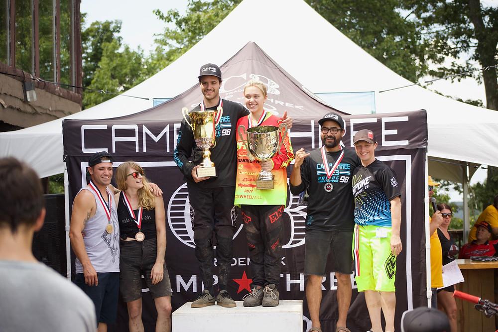 2018 Camp Three Cup Pro Men and Pro Women Winners Logan Mullaly and Jordan Bell