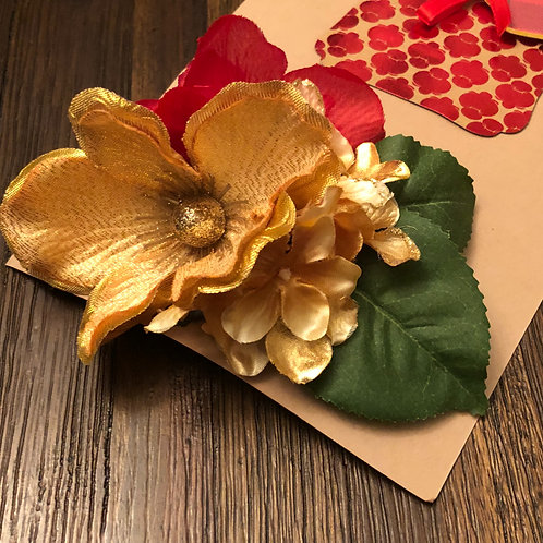 Gold/Red Holly Floral Clip