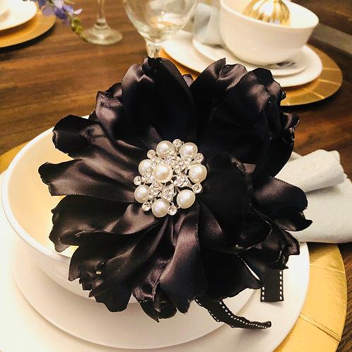Black Bella Satin Floral Headband