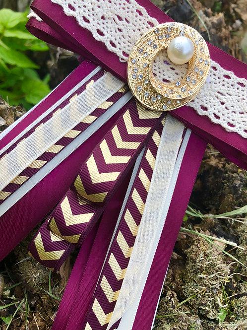 Eggplant, Cream, and Gold Ladies Bow Ties