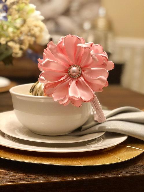 La Pink Fleur Satin Headband