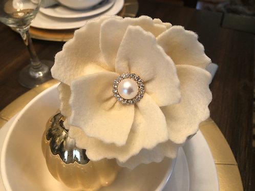 Ivory Linen Felt Floral Headband
