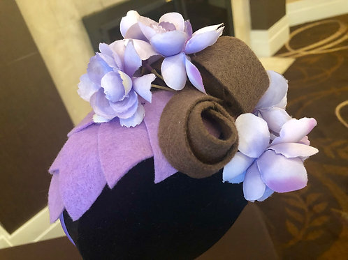 Orchid Lavender Brown Fascinator
