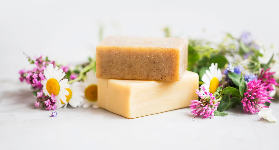 Natural soap bars with essential oils an