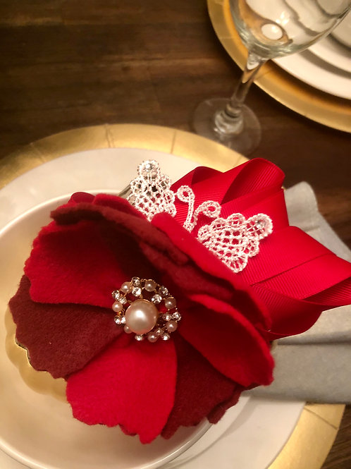 Scarlet Rose Floral Felt Headband with Lace Butterfly