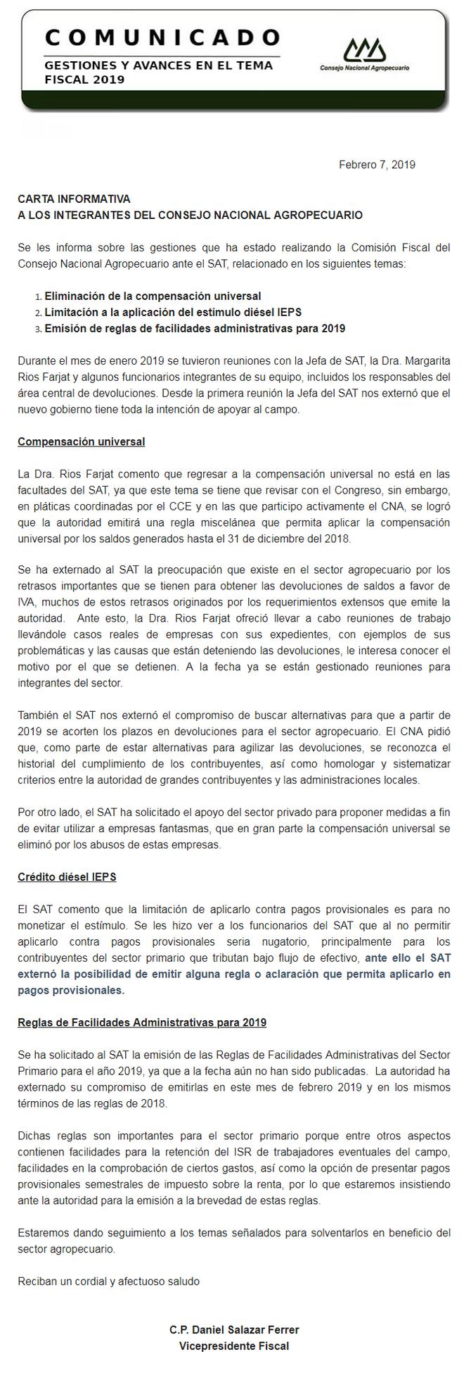 COMUNICADO CNA : GESTIONES Y AVANCES EN EL TEMA FISCAL 2019
