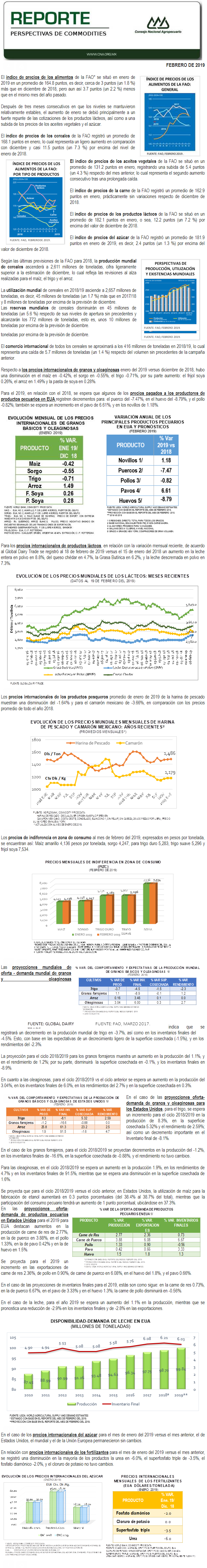 REPORTE DE PERSPECTIVAS DE COMMODITES DEL MES DE FEBRERO DEL 2019