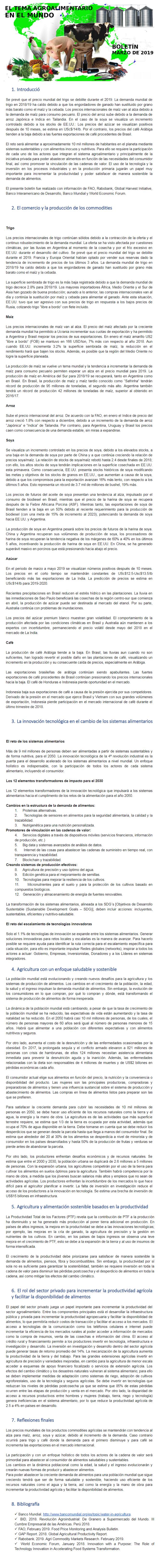 BOLETÍN: EL TEMA AGROALIMENTARIO EN EL MUNDO, MARZO DE 2019