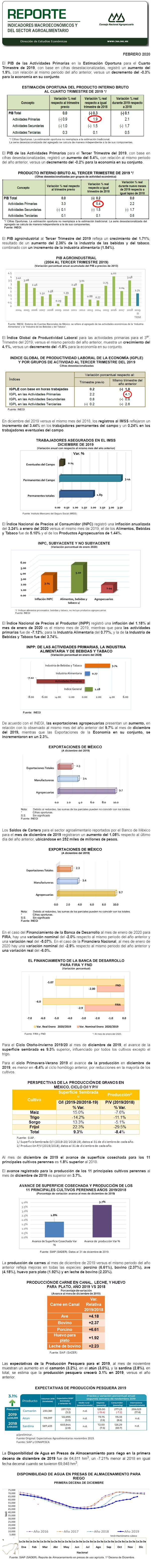 Reporte Indicadores Macroeconómicos y Sectoriales Febrero 2020.