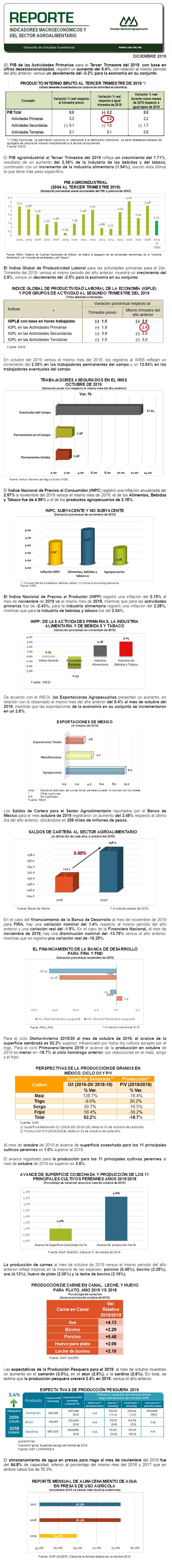 Reporte Indicadores Macroeconómicos y Sectoriales Diciembre 2019.